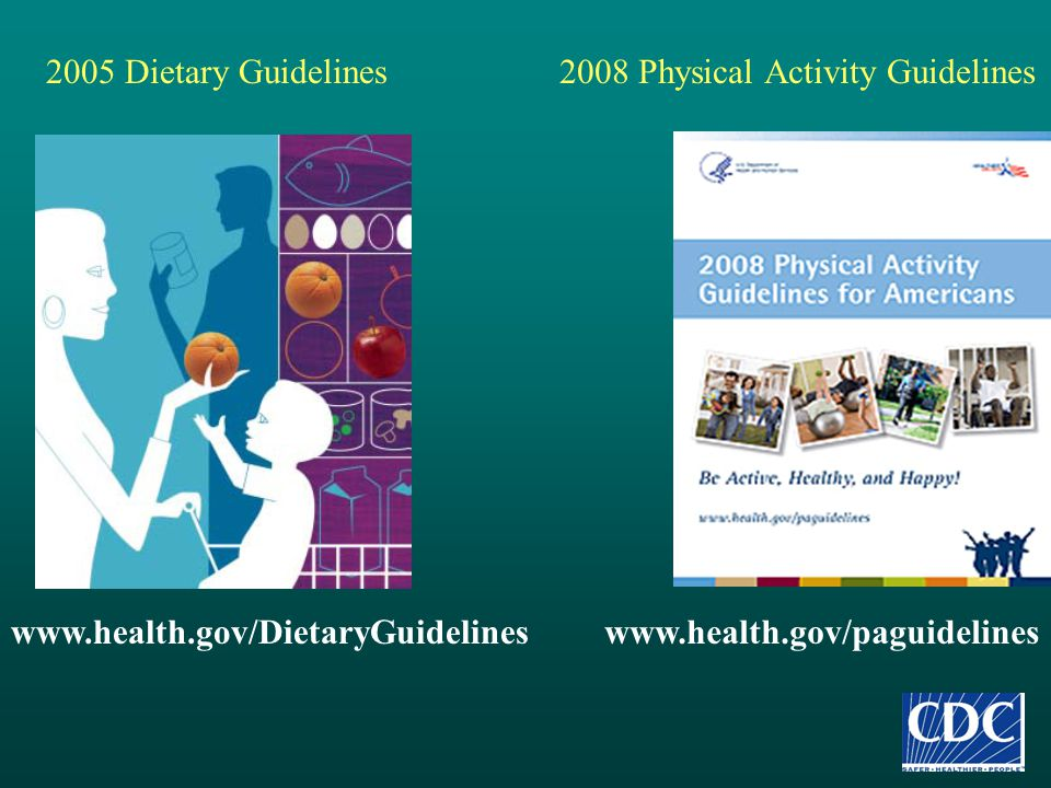 www.health.gov/paguidelines 2008 Physical Activity Guidelines2005 Dietary Guidelines www.health.gov/DietaryGuidelines