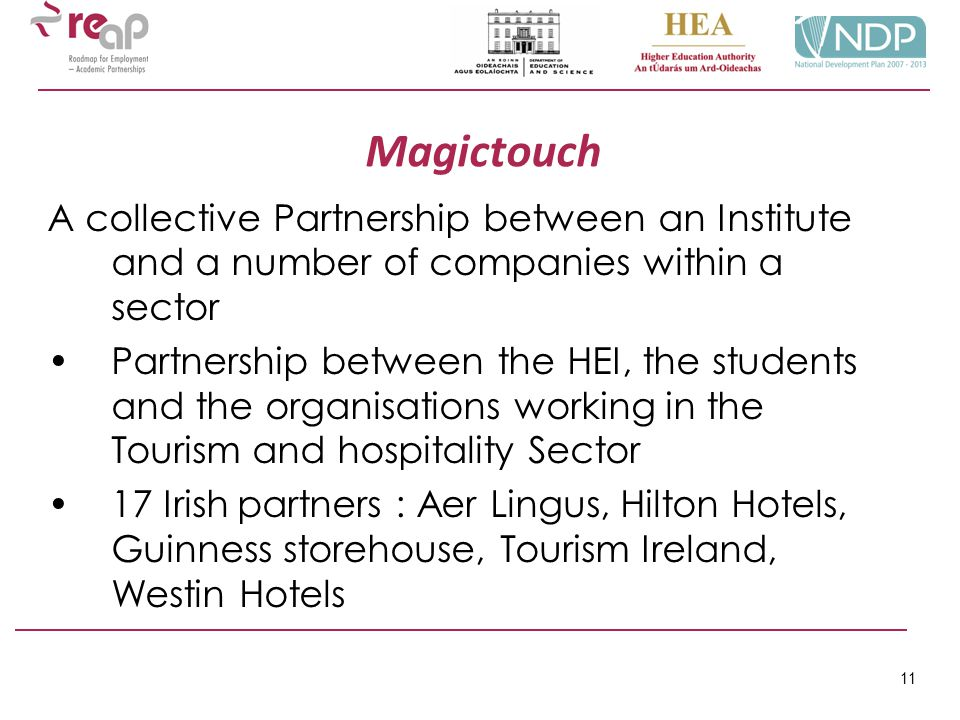 11 Magictouch A collective Partnership between an Institute and a number of companies within a sector Partnership between the HEI, the students and th