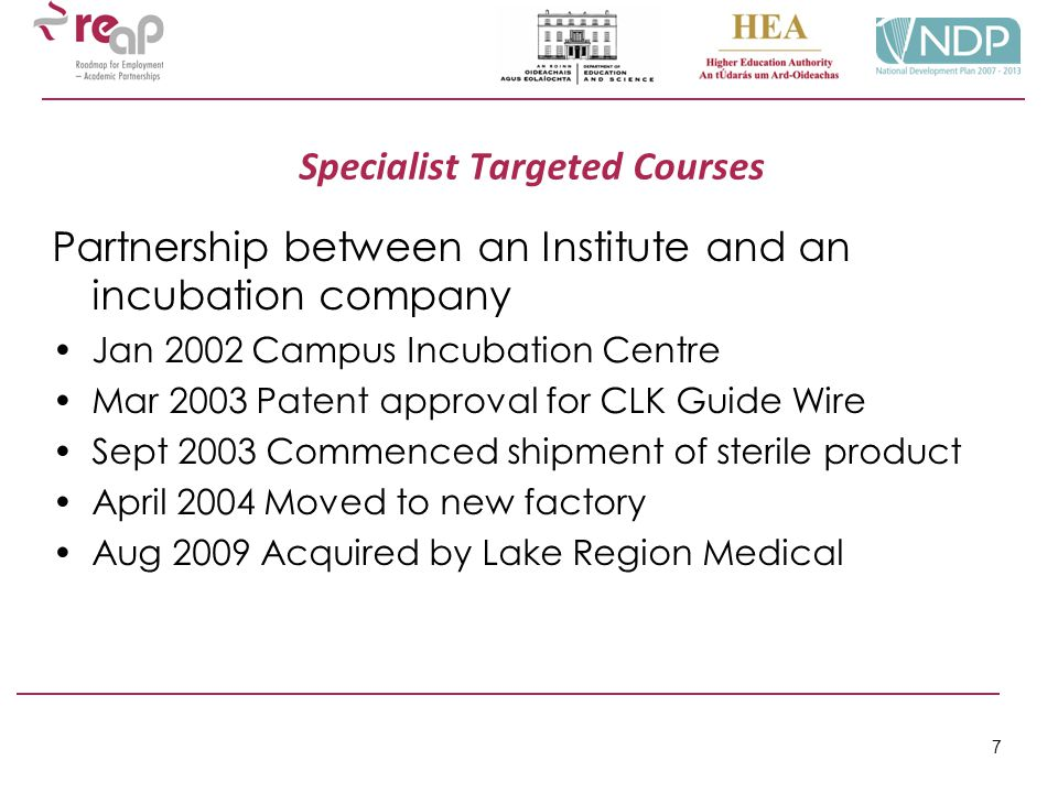 7 Specialist Targeted Courses Partnership between an Institute and an incubation company Jan 2002 Campus Incubation Centre Mar 2003 Patent approval fo