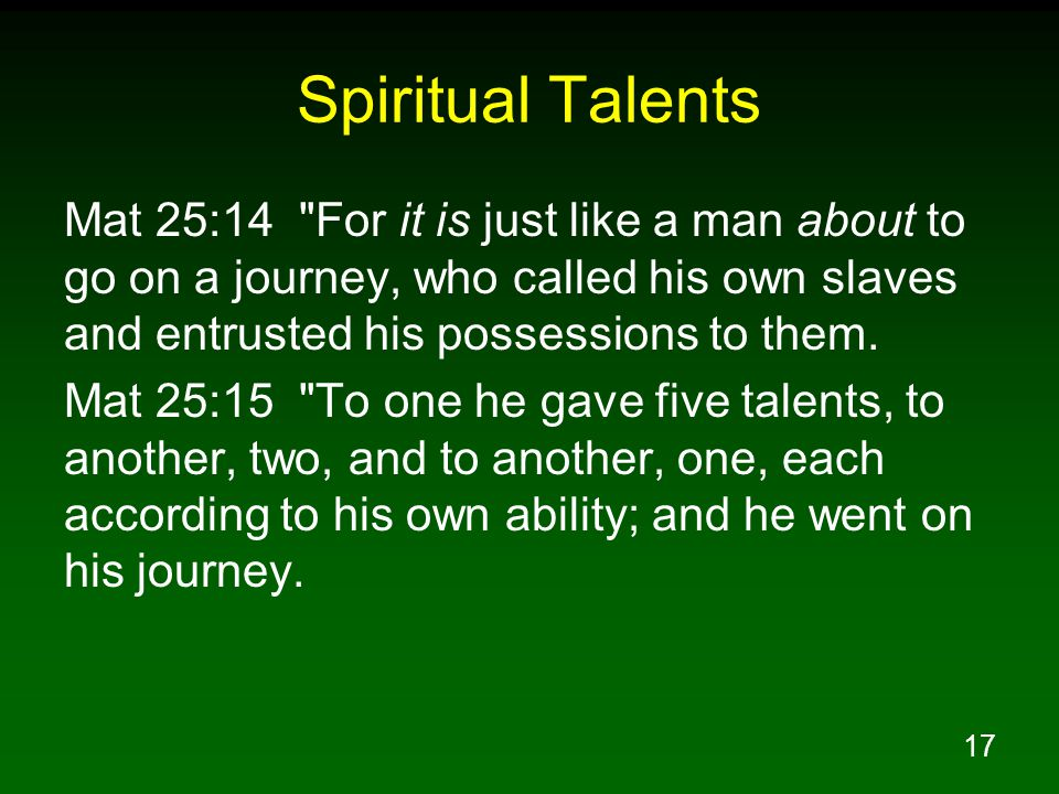 17 Spiritual Talents Mat 25:14