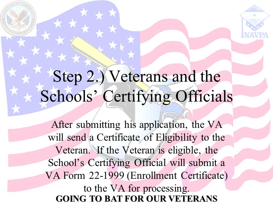 GOING TO BAT FOR OUR VETERANS Step 2.) Veterans and the Schools' Certifying Officials After submitting his application, the VA will send a Certificate of Eligibility to the Veteran.