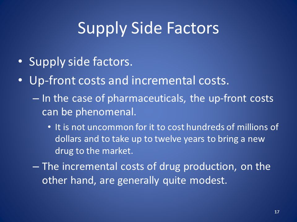Supply Side Factors Supply side factors. Up-front costs and incremental costs. – In the case of pharmaceuticals, the up-front costs can be phenomenal.