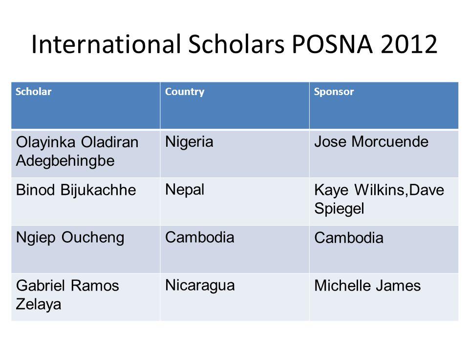 International Scholars POSNA 2012 ScholarCountrySponsor Olayinka Oladiran Adegbehingbe NigeriaJose Morcuende Binod BijukachheNepalKaye Wilkins,Dave Sp