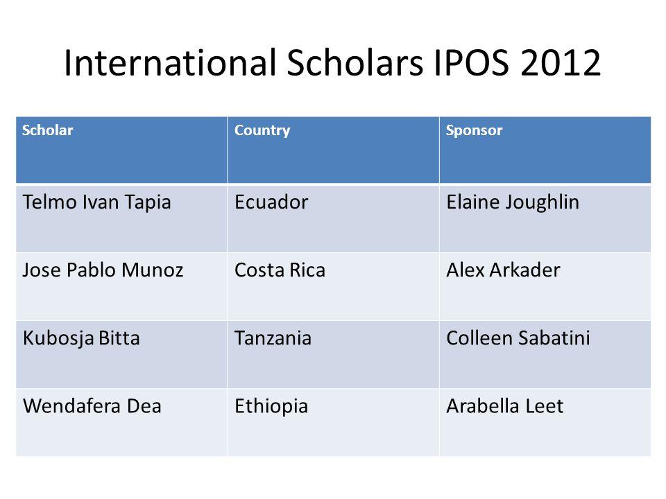 International Scholars IPOS 2012 ScholarCountrySponsor Telmo Ivan TapiaEcuadorElaine Joughlin Jose Pablo MunozCosta RicaAlex Arkader Kubosja BittaTanz