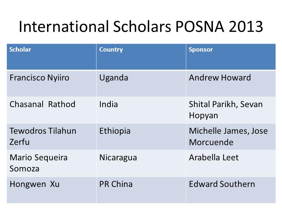 International Scholars POSNA 2013 ScholarCountrySponsor Francisco NyiiroUgandaAndrew Howard Chasanal RathodIndiaShital Parikh, Sevan Hopyan Tewodros T