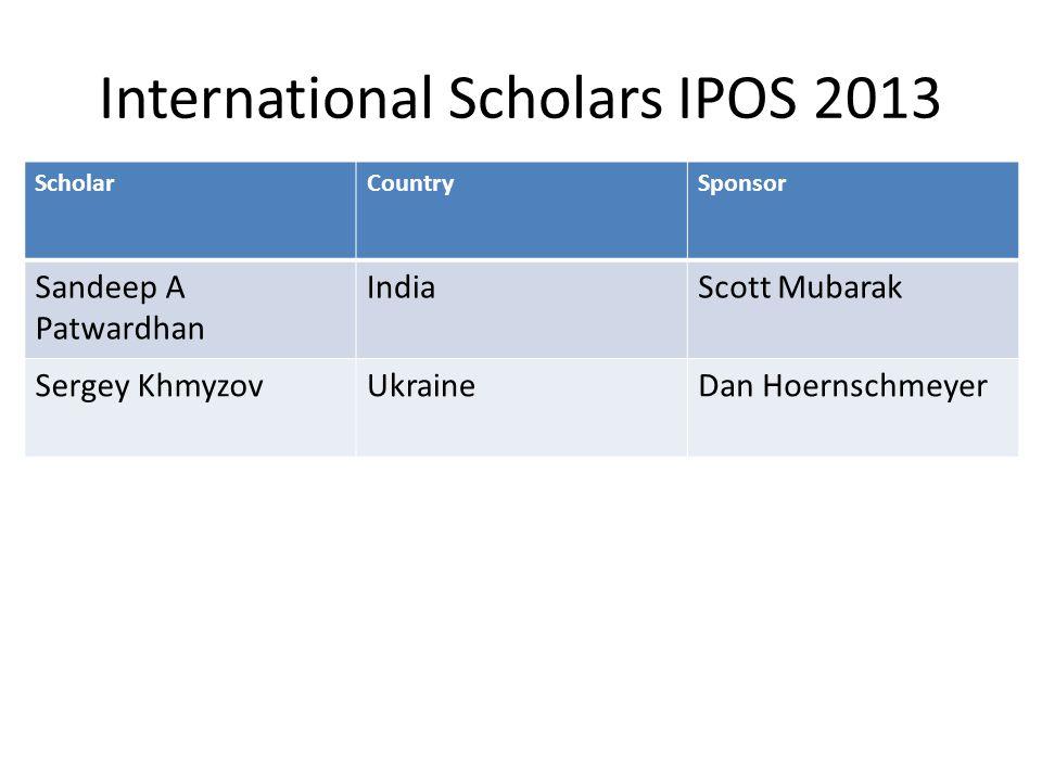International Scholars IPOS 2013 ScholarCountrySponsor Sandeep A Patwardhan IndiaScott Mubarak Sergey KhmyzovUkraineDan Hoernschmeyer