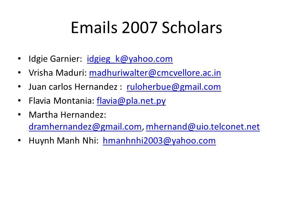Emails 2007 Scholars Idgie Garnier: idgieg_k@yahoo.comidgieg_k@yahoo.com Vrisha Maduri: madhuriwalter@cmcvellore.ac.inmadhuriwalter@cmcvellore.ac.in J
