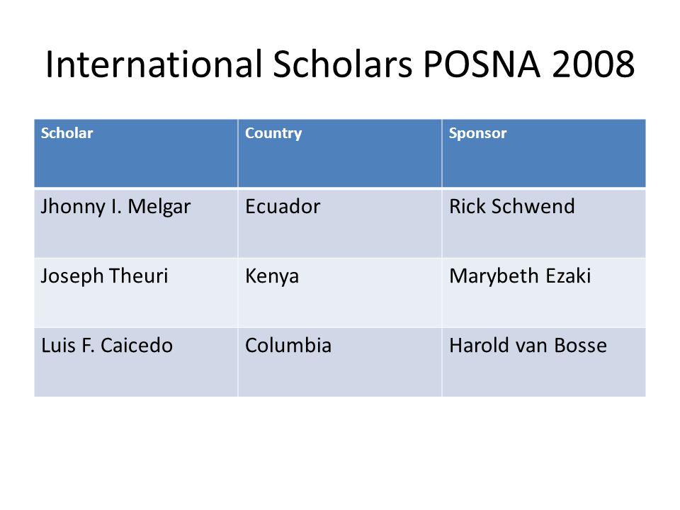 International Scholars POSNA 2008 ScholarCountrySponsor Jhonny I. MelgarEcuadorRick Schwend Joseph TheuriKenyaMarybeth Ezaki Luis F. CaicedoColumbiaHa