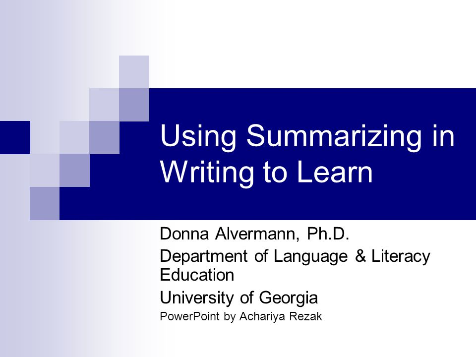 What is the purpose of teaching summarizing.
