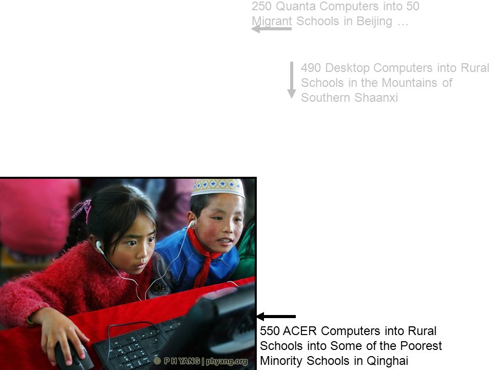 250 Quanta Computers into 50 Migrant Schools in Beijing … 490 Desktop Computers into Rural Schools in the Mountains of Southern Shaanxi 550 ACER Compu