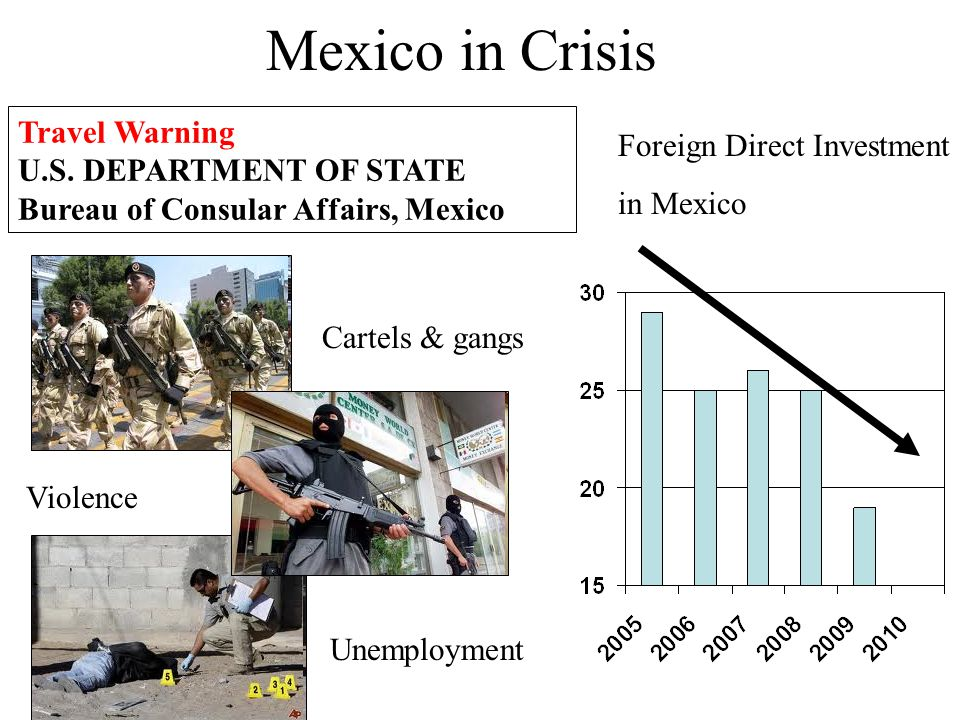 Travel Warning U.S. DEPARTMENT OF STATE Bureau of Consular Affairs, Mexico Foreign Direct Investment in Mexico Mexico in Crisis Cartels & gangs Violen