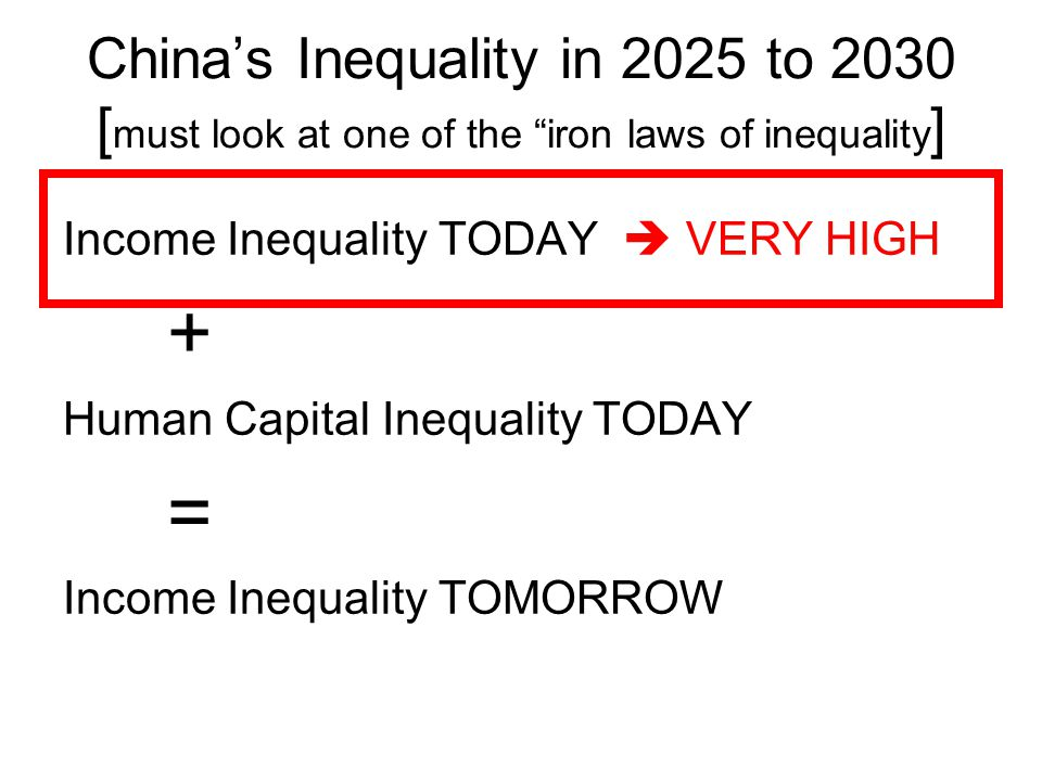 "China's Inequality in 2025 to 2030 [ must look at one of the ""iron laws of inequality ] Income Inequality TODAY  VERY HIGH + Human Capital Inequality"