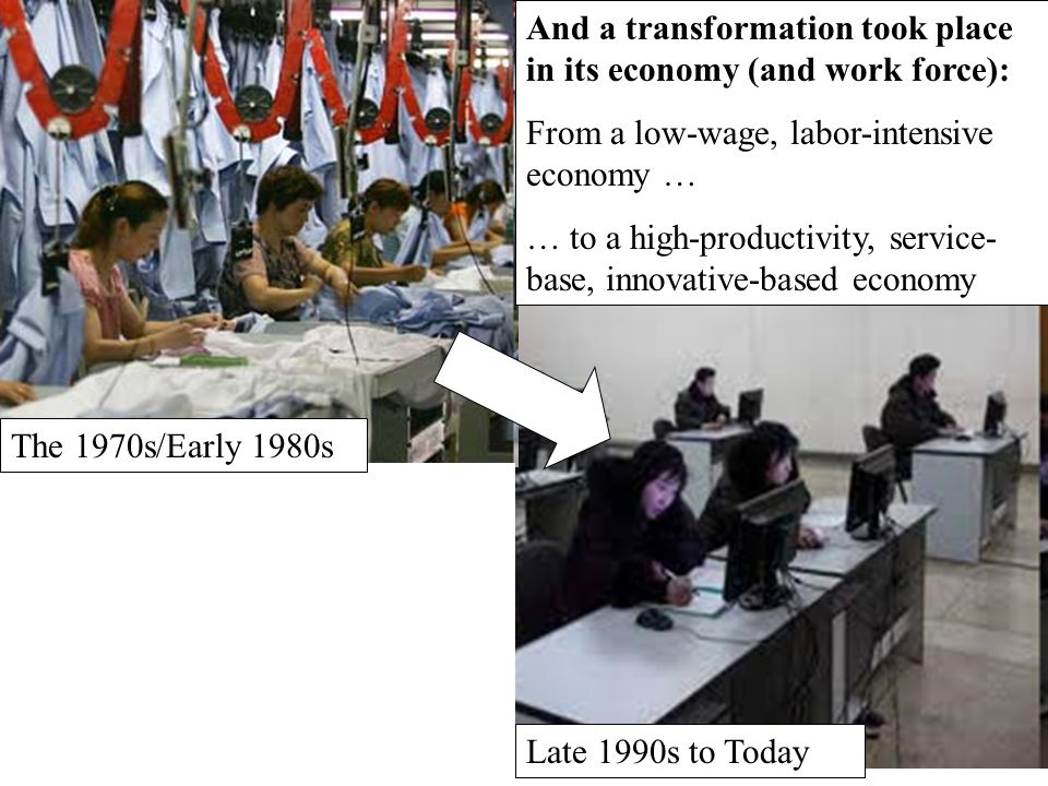 And a transformation took place in its economy (and work force): From a low-wage, labor-intensive economy … … to a high-productivity, service- base, i