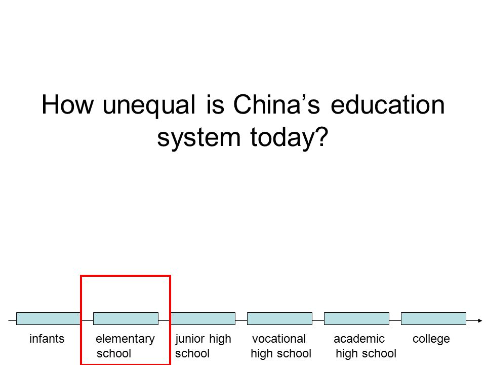 How unequal is China's education system today? infants elementary junior high vocational academic college school school high school high school
