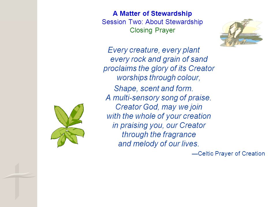 A Matter of Stewardship Session Two: About Stewardship Closing Prayer Every creature, every plant every rock and grain of sand proclaims the glory of