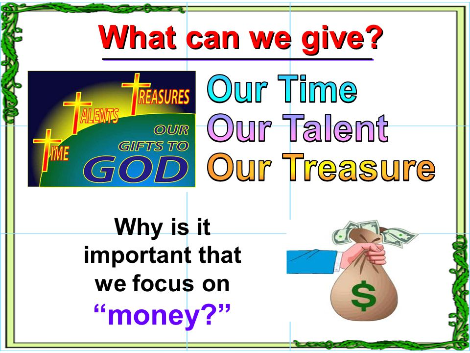 GIVING is an The giver TRUSTS GOD with his or her resources.