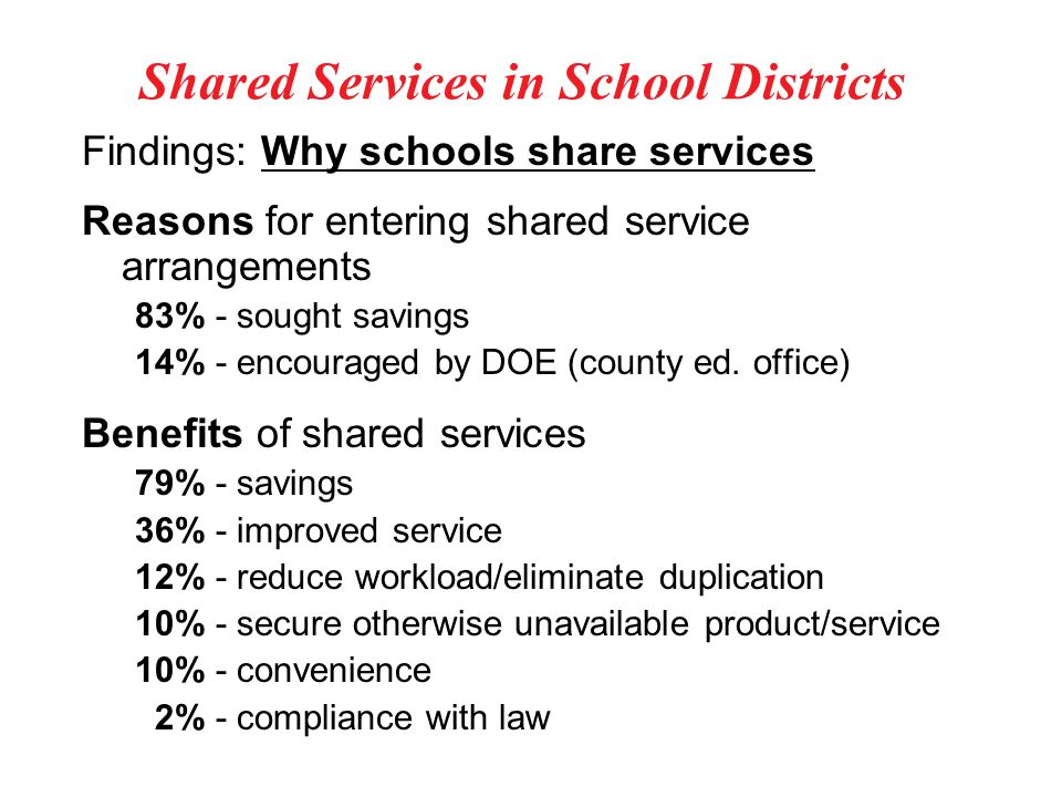 Shared Services in School Districts Findings: Why schools share services Reasons for entering shared service arrangements 83% - sought savings 14% - encouraged by DOE (county ed.