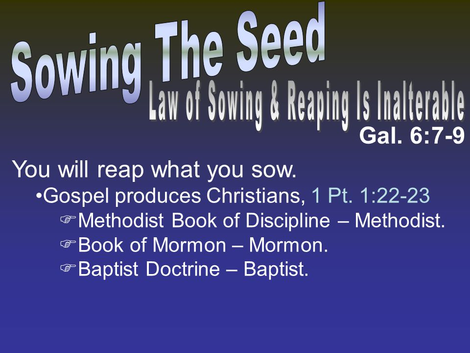 Gal. 6:7-9 You will reap what you sow. Gospel produces Christians, 1 Pt. 1:22-23  Methodist Book of Discipline – Methodist.  Book of Mormon – Mormon