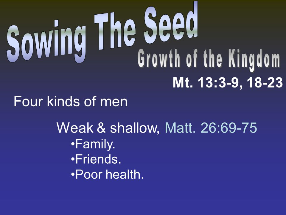 Mt. 13:3-9, 18-23 Weak & shallow, Matt. 26:69-75 Family. Friends. Poor health. Four kinds of men
