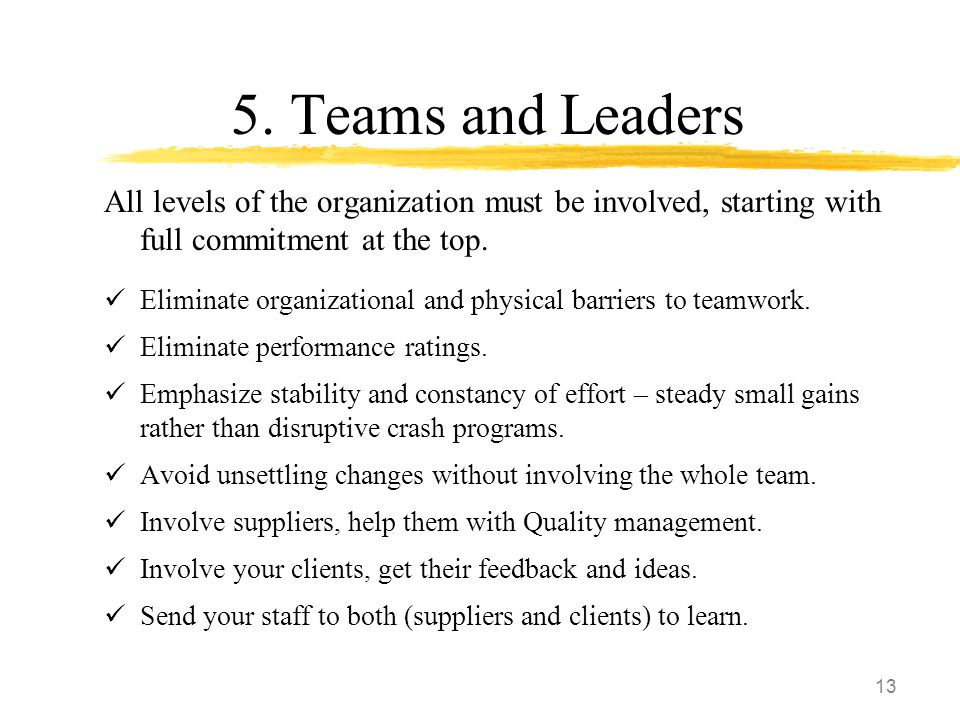 13 5. Teams and Leaders All levels of the organization must be involved, starting with full commitment at the top. Eliminate organizational and physic