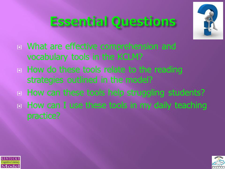  What are effective comprehension and vocabulary tools in the KCLM.