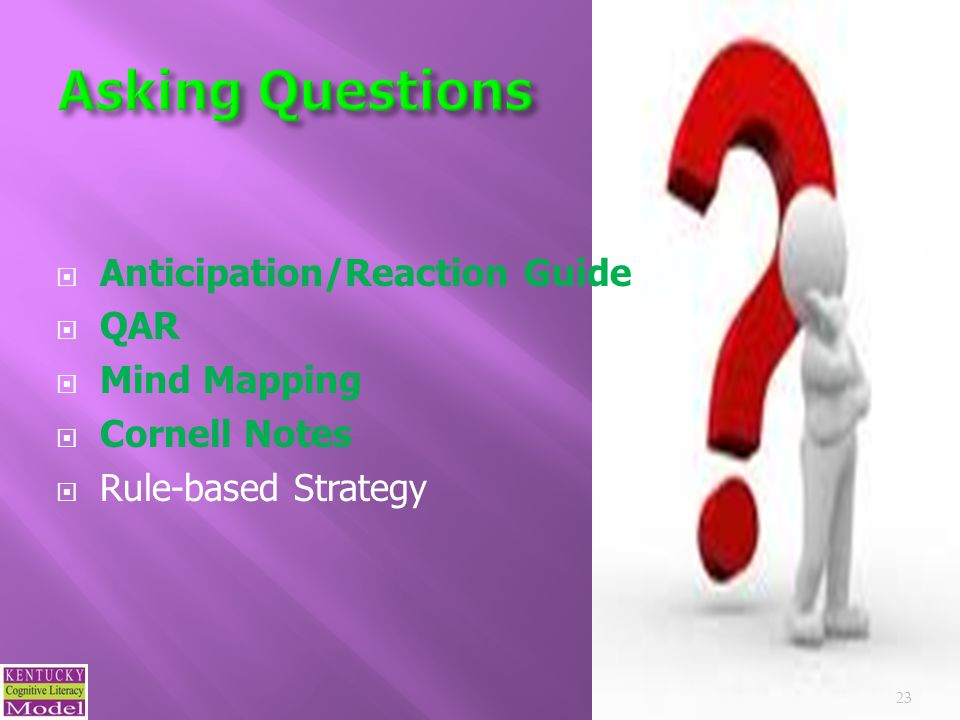  Anticipation/Reaction Guide  QAR  Mind Mapping  Cornell Notes  Rule-based Strategy 23