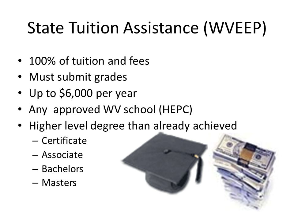 State Tuition Assistance (WVEEP) 100% of tuition and fees Must submit grades Up to $6,000 per year Any approved WV school (HEPC) Higher level degree than already achieved – Certificate – Associate – Bachelors – Masters