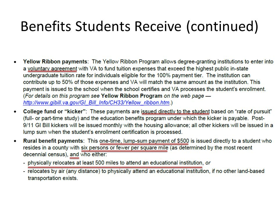 Benefits Students Receive (continued)
