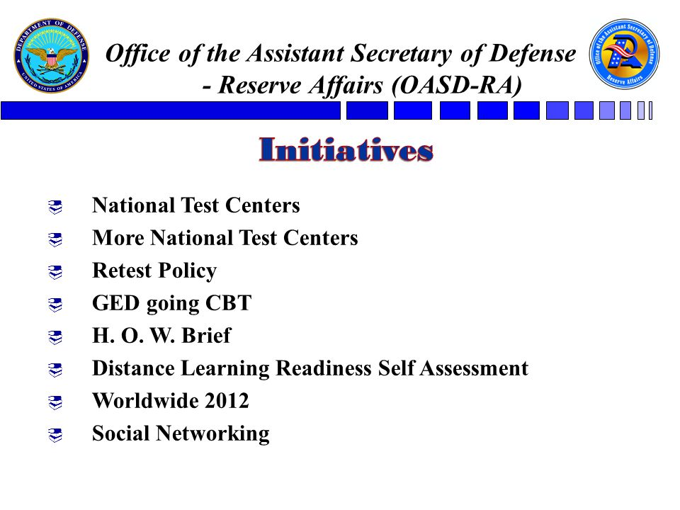  National Test Centers  More National Test Centers  Retest Policy  GED going CBT  H.