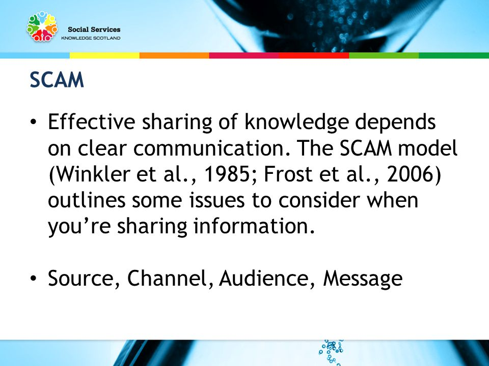 SCAM Effective sharing of knowledge depends on clear communication.
