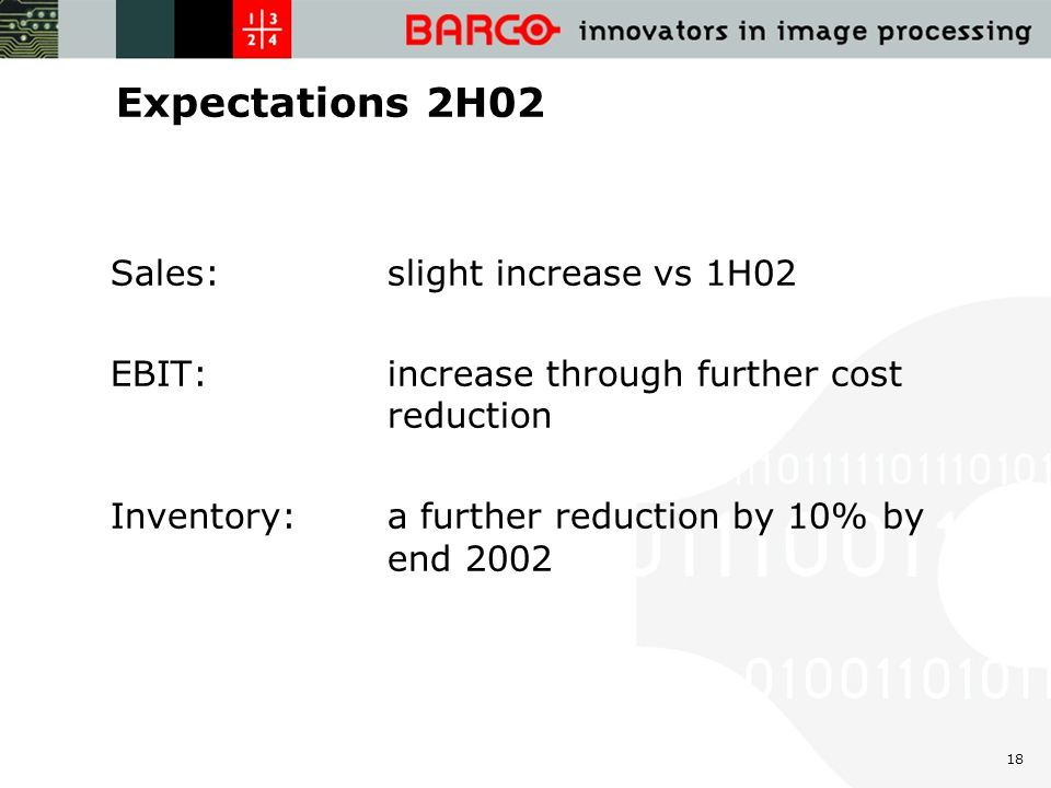 18 Expectations 2H02 Sales: slight increase vs 1H02 EBIT: increase through further cost reduction Inventory: a further reduction by 10% by end 2002