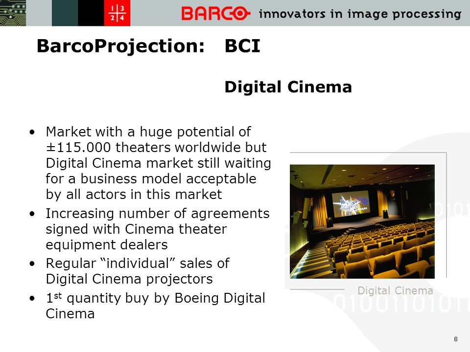 8 BarcoProjection: BCI Market with a huge potential of ±115.000 theaters worldwide but Digital Cinema market still waiting for a business model acceptable by all actors in this market Increasing number of agreements signed with Cinema theater equipment dealers Regular individual sales of Digital Cinema projectors 1 st quantity buy by Boeing Digital Cinema Digital Cinema