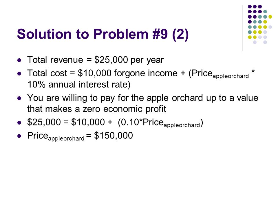 Solution to Problem #9 (2) Total revenue = $25,000 per year Total cost = $10,000 forgone income + (Price appleorchard * 10% annual interest rate) You