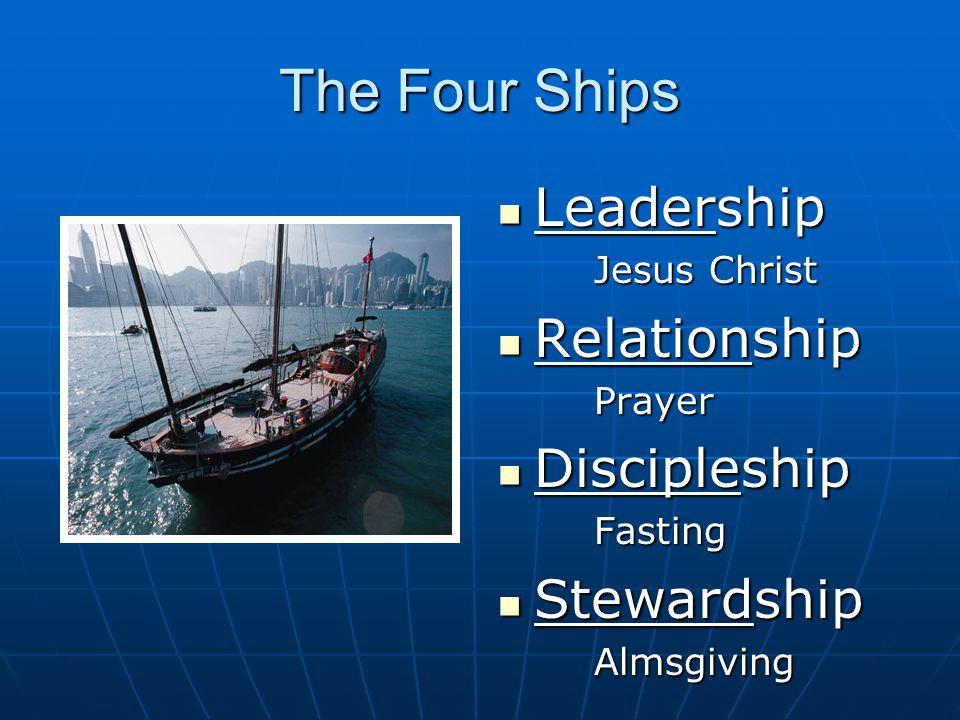 The Four Ships Leadership Leadership Jesus Christ Relationship RelationshipPrayer Discipleship DiscipleshipFasting Stewardship StewardshipAlmsgiving