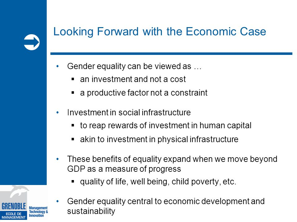  Looking Forward with the Economic Case Gender equality can be viewed as …  an investment and not a cost  a productive factor not a constraint Investment in social infrastructure  to reap rewards of investment in human capital  akin to investment in physical infrastructure These benefits of equality expand when we move beyond GDP as a measure of progress  quality of life, well being, child poverty, etc.
