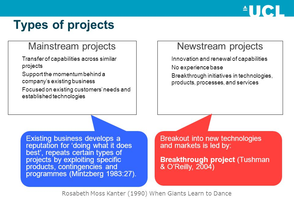 Types of projects Mainstream projects Transfer of capabilities across similar projects Support the momentum behind a company's existing business Focused on existing customers' needs and established technologies Newstream projects Innovation and renewal of capabilities No experience base Breakthrough initiatives in technologies, products, processes, and services Existing business develops a reputation for 'doing what it does best', repeats certain types of projects by exploiting specific products, contingencies and programmes (Mintzberg 1983:27).