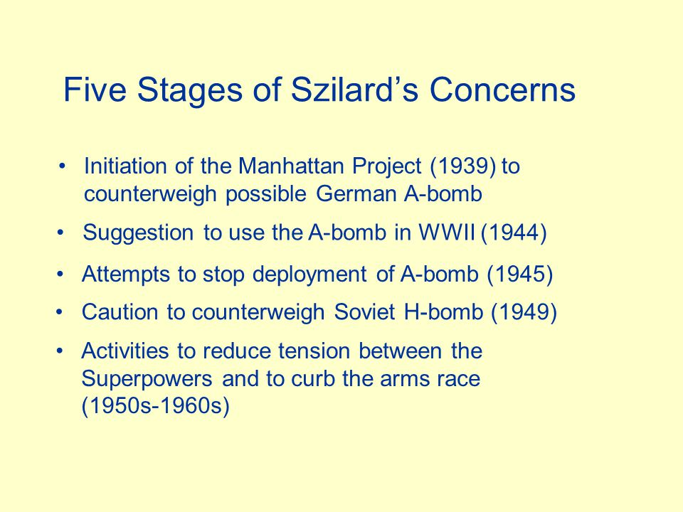 Five Stages of Szilard's Concerns Initiation of the Manhattan Project (1939) to counterweigh possible German A-bomb Suggestion to use the A-bomb in WWII (1944) Attempts to stop deployment of A-bomb (1945) Caution to counterweigh Soviet H-bomb (1949) Activities to reduce tension between the Superpowers and to curb the arms race (1950s-1960s)