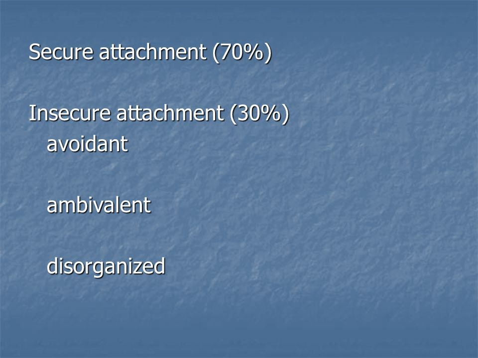 Secure attachment (70%) Insecure attachment (30%) avoidantambivalentdisorganized