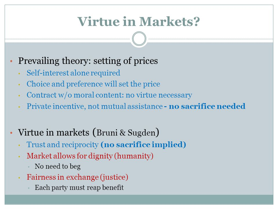 Virtue in Markets.