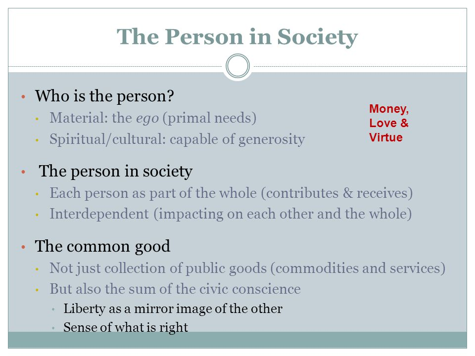 The Person in Society Who is the person.