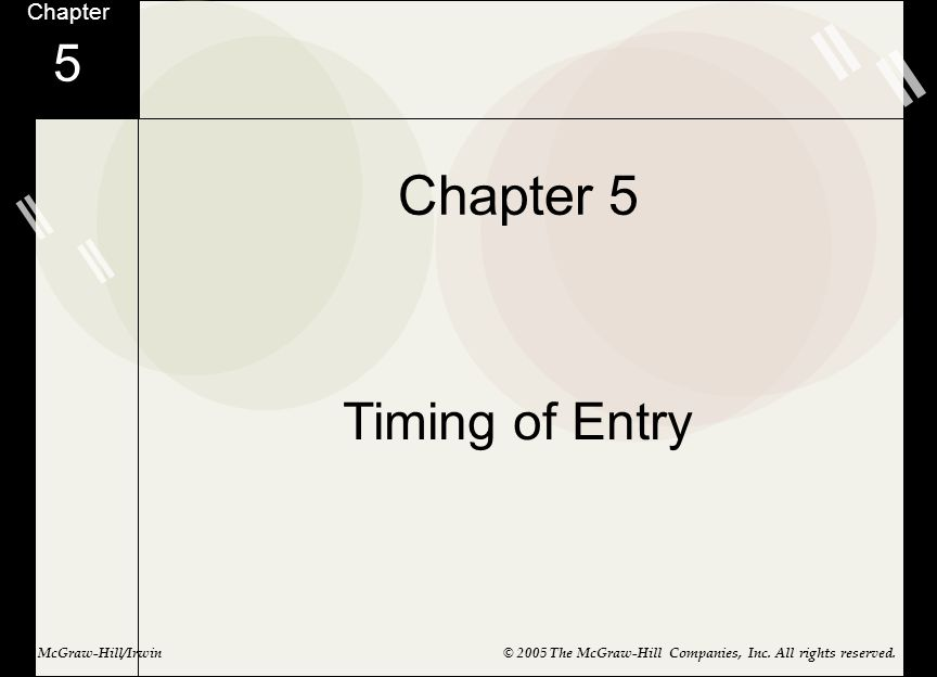 Chapter 5 Timing of Entry Chapter 5 McGraw-Hill/Irwin© 2005 The McGraw-Hill Companies, Inc. All rights reserved.