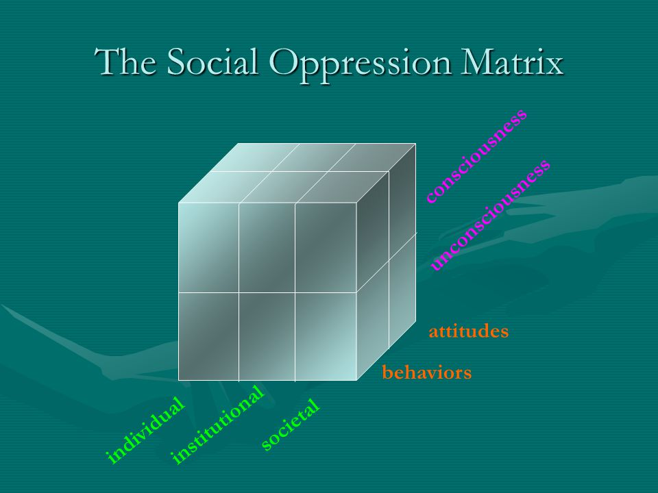 The Social Oppression Matrix individual institutional societal behaviors attitudes consciousness unconsciousness