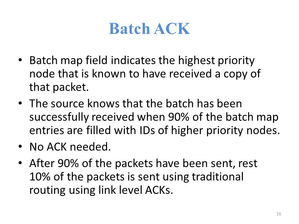 Batch ACK Batch map field indicates the highest priority node that is known to have received a copy of that packet.