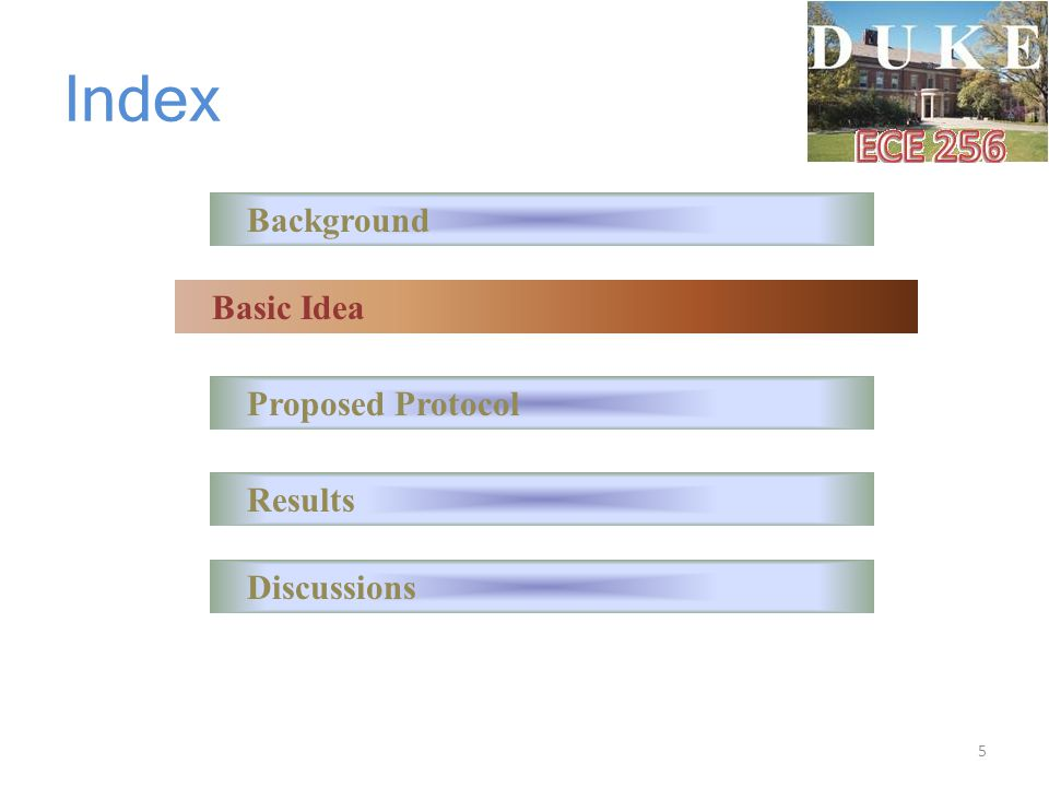 Index Background Basic Idea Proposed Protocol Results Discussions 5