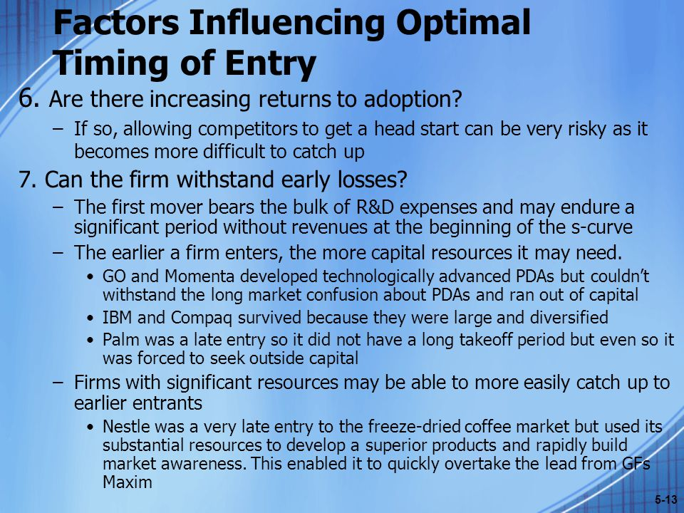 Factors Influencing Optimal Timing of Entry 6.Are there increasing returns to adoption.