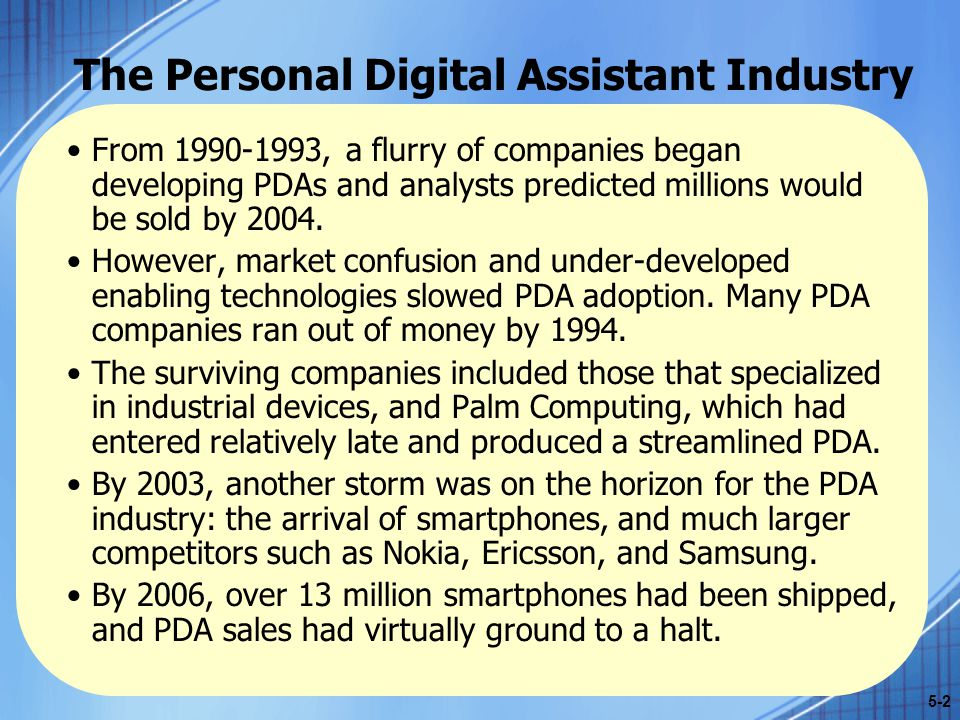 The Personal Digital Assistant Industry From 1990-1993, a flurry of companies began developing PDAs and analysts predicted millions would be sold by 2