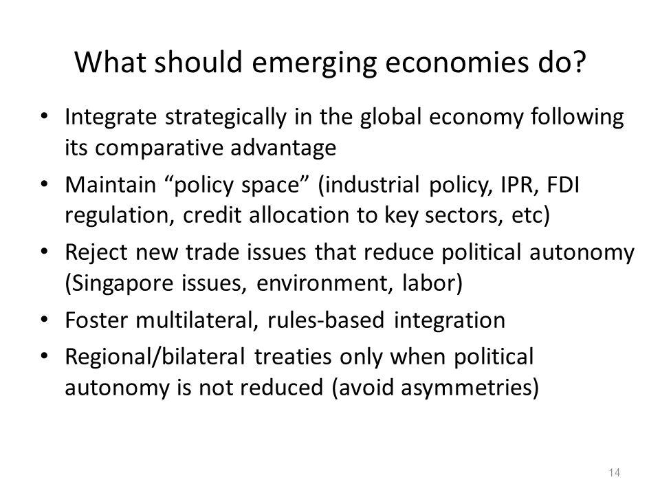 What should emerging economies do.