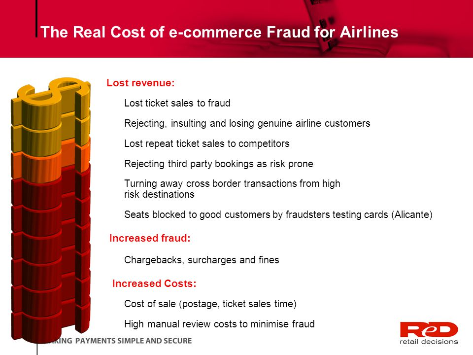 The Real Cost of e-commerce Fraud for Airlines Lost revenue: Lost ticket sales to fraud Rejecting, insulting and losing genuine airline customers Lost repeat ticket sales to competitors Rejecting third party bookings as risk prone Turning away cross border transactions from high risk destinations Seats blocked to good customers by fraudsters testing cards (Alicante) Increased fraud: Chargebacks, surcharges and fines Increased Costs: Cost of sale (postage, ticket sales time) High manual review costs to minimise fraud