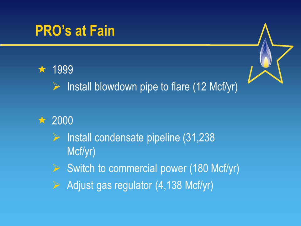 PRO's at Fain  1999  Install blowdown pipe to flare (12 Mcf/yr)  2000  Install condensate pipeline (31,238 Mcf/yr)  Switch to commercial power (180 Mcf/yr)  Adjust gas regulator (4,138 Mcf/yr)