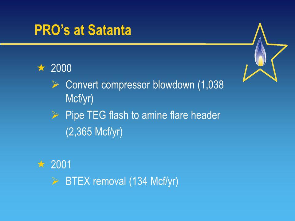 PRO's at Satanta  2000  Convert compressor blowdown (1,038 Mcf/yr)  Pipe TEG flash to amine flare header (2,365 Mcf/yr)  2001  BTEX removal (134 Mcf/yr)